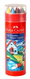 Faber-Castell Erasable Crayon Tin Set - Pack of 12 (Assorted) + 2 FREE Gold and Silver