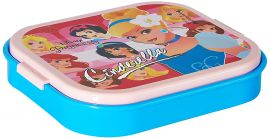 Disney Cinderella Plastic Lunch Box Set, 660ml, 3-Pieces, Pink/Blue
