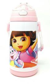 Disney, Marvel & Dora & Motu Patlu Character Push Button Double Wall Sipper Water Bottle, 600ml (Dora)
