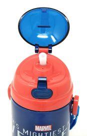 Disney, Marvel & Dora & Motu Patlu Character Push Button Double Wall Sipper Water Bottle, 600ml (Marvel Avengers)