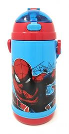 Disney, Marvel & Dora & Motu Patlu Character Push Button Double Wall Sipper Water Bottle, 600ml (Marvel Spider Man)