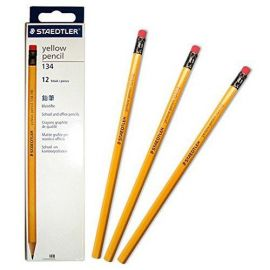 Staedtler Yellow Pencil With Rubber Tip (HB, Pack Of 12) 134 HB