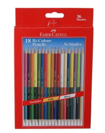 Faber-Castell Bi-Color Pencils,Pack of 18 (Assorted)