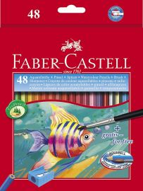 Faber-Castell Water Color Pencils With Brush - 48 Shades