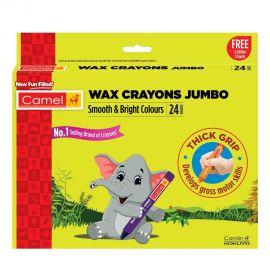 Camel Jumbo Wax Crayons - 24 Shades + 2 Glitter Shade Free